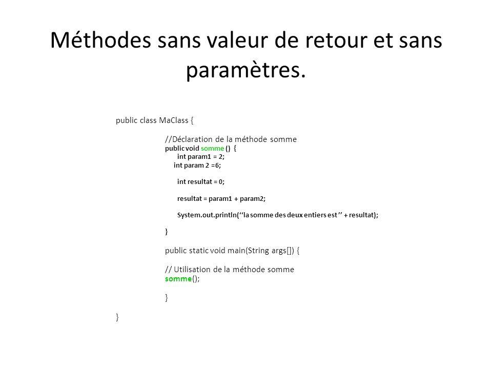 Méthodes sans valeur de retour et sans paramètres. public class MaClass { //Déclaration de la méthode somme public void somme () { int param1 = 2; int
