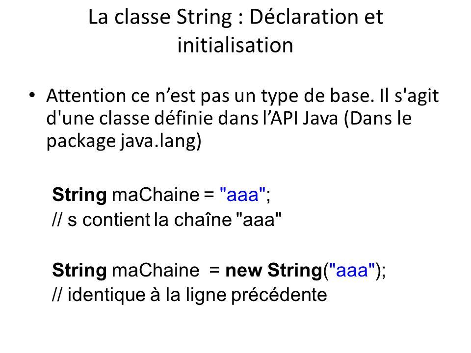 La classe String : Déclaration et initialisation Attention ce nest pas un type de base. Il s'agit d'une classe définie dans lAPI Java (Dans le package