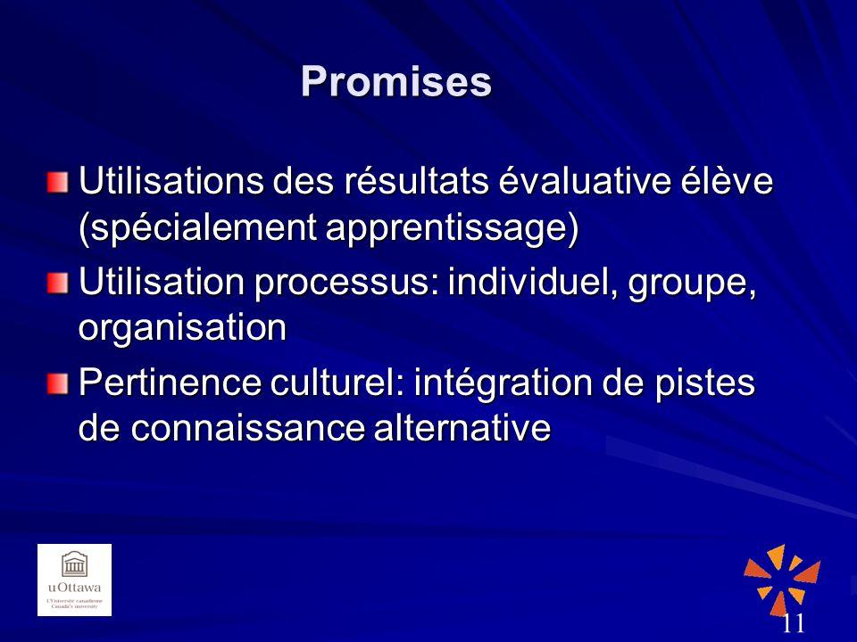 Promises Utilisations des résultats évaluative élève (spécialement apprentissage) Utilisation processus: individuel, groupe, organisation Pertinence culturel: intégration de pistes de connaissance alternative 11