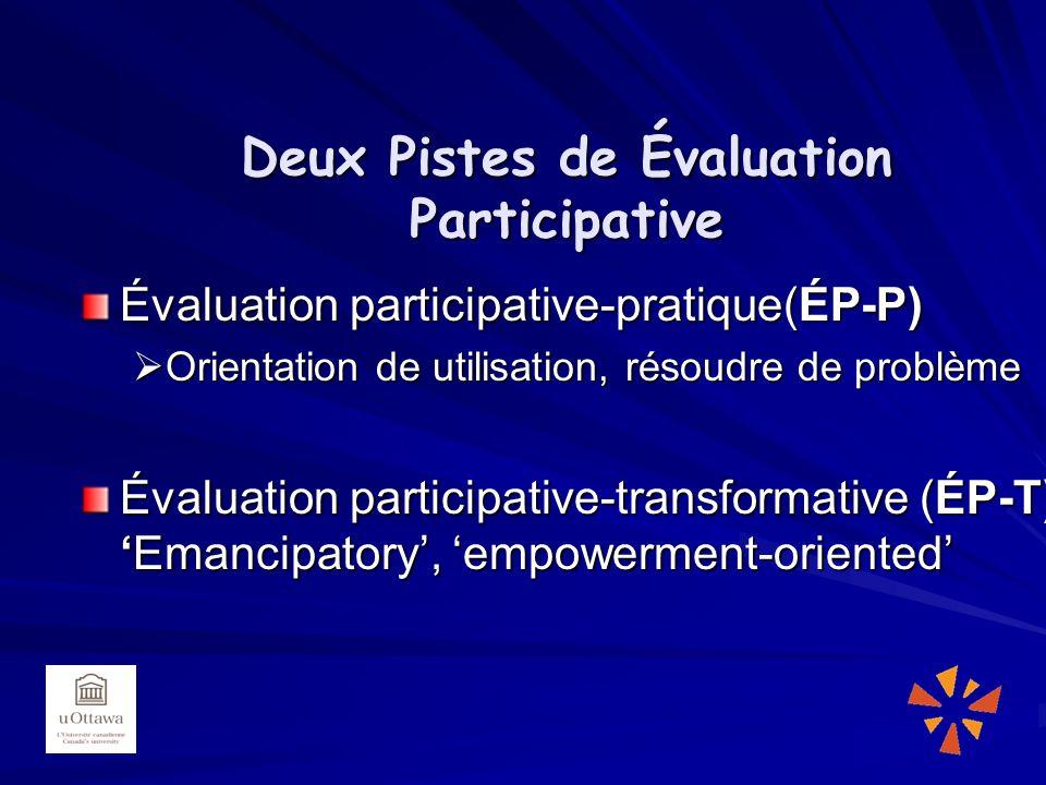Deux Pistes de Évaluation Participative Évaluation participative-pratique(ÉP-P) Orientation de utilisation, résoudre de problème Orientation de utilisation, résoudre de problème Évaluation participative-transformative (ÉP-T)Emancipatory, empowerment-oriented