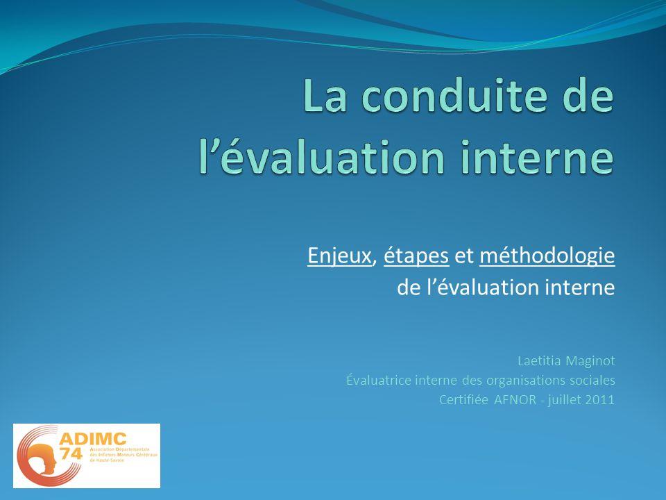 Enjeux, étapes et méthodologie de lévaluation interne Laetitia Maginot Évaluatrice interne des organisations sociales Certifiée AFNOR - juillet 2011