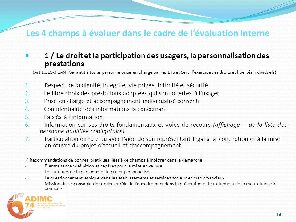 Les 4 champs à évaluer dans le cadre de lévaluation interne 1 / Le droit et la participation des usagers, la personnalisation des prestations (Art L.3
