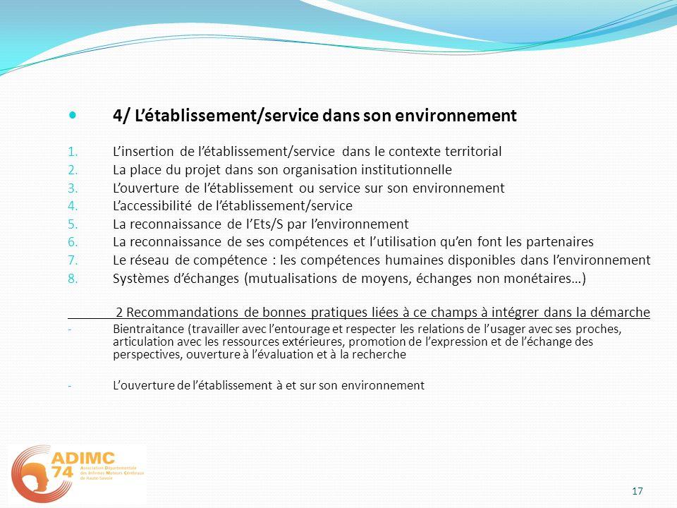 4/ Létablissement/service dans son environnement 1. Linsertion de létablissement/service dans le contexte territorial 2. La place du projet dans son o