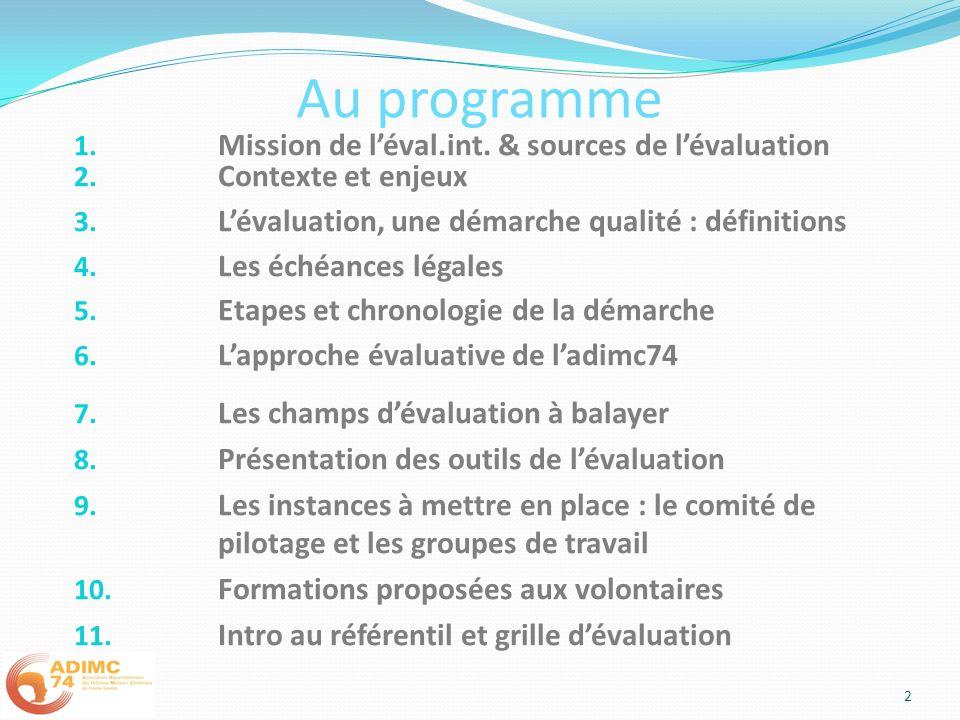 Au programme 1. Mission de léval.int. & sources de lévaluation 2. Contexte et enjeux 3. Lévaluation, une démarche qualité : définitions 4. Les échéanc