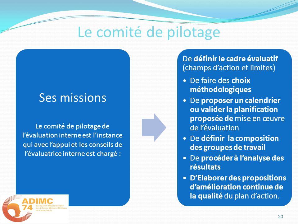 Le comité de pilotage Ses missions Le comité de pilotage de lévaluation interne est linstance qui avec lappui et les conseils de lévaluatrice interne
