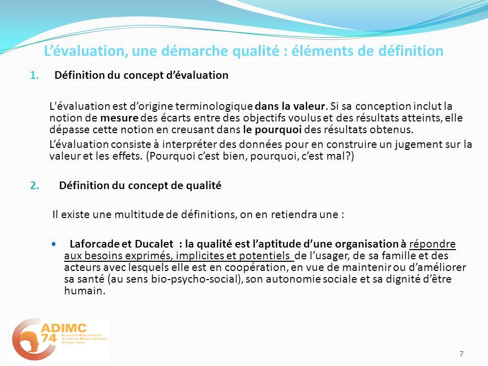 Lévaluation, une démarche qualité : éléments de définition 1. Définition du concept dévaluation L'évaluation est dorigine terminologique dans la valeu