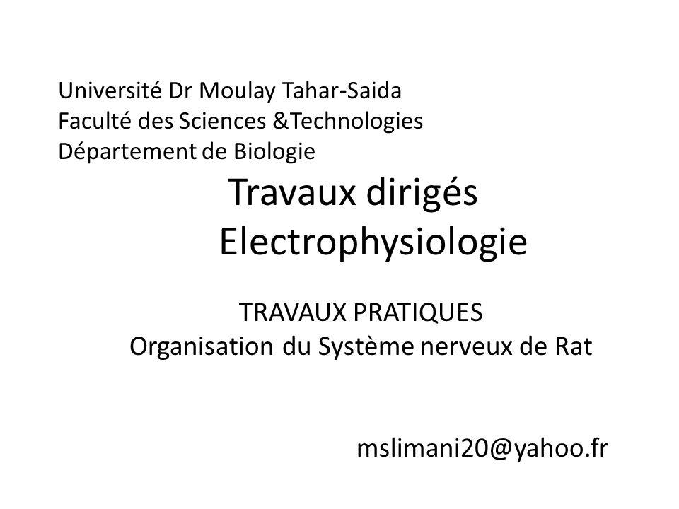Université Dr Moulay Tahar-Saida Faculté des Sciences &Technologies Département de Biologie Travaux dirigés Electrophysiologie TRAVAUX PRATIQUES Organ