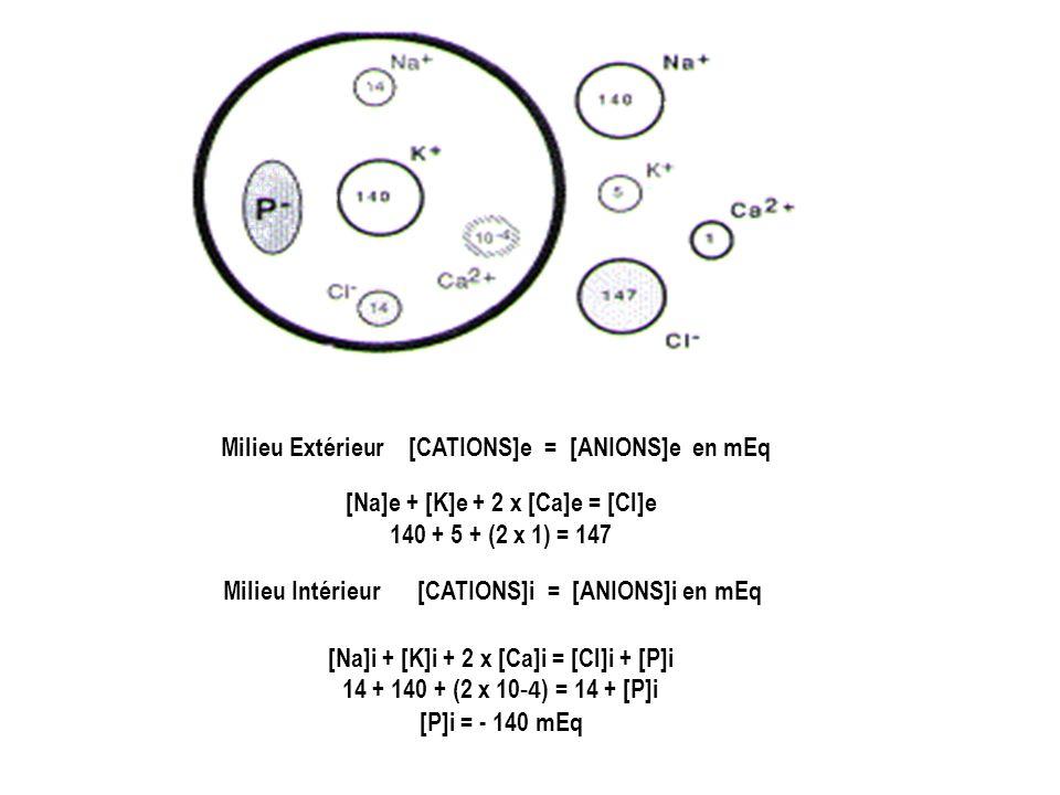 Milieu Extérieur [CATIONS]e = [ANIONS]e en mEq [Na]e + [K]e + 2 x [Ca]e = [Cl]e 140 + 5 + (2 x 1) = 147 Milieu Intérieur [CATIONS]i = [ANIONS]i en mEq