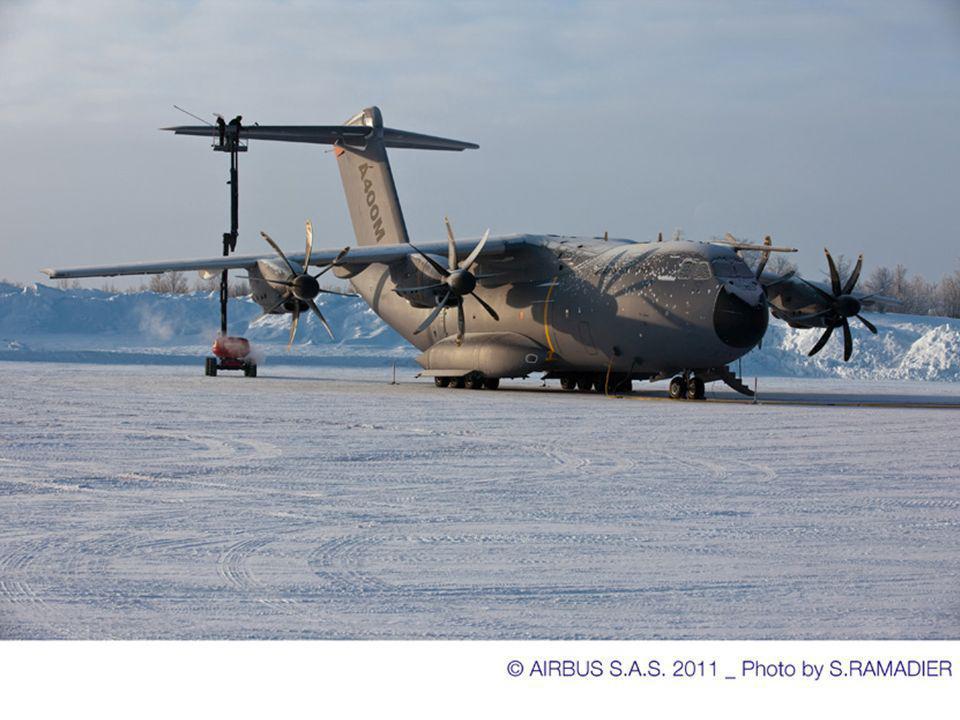 Poudrin de glace tombé dans la nuit Il faut dégivrer les parties mobiles des commandes de vol Séances de balayage à 15 mètres du sol du THS