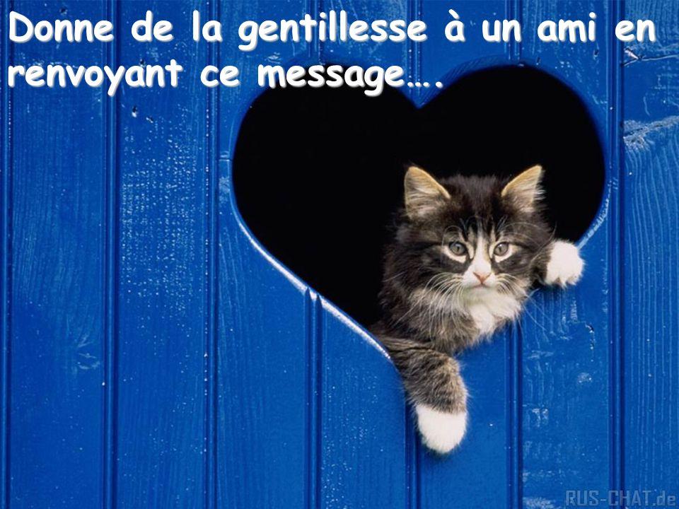 Donne de la gentillesse à un ami en renvoyant ce message….