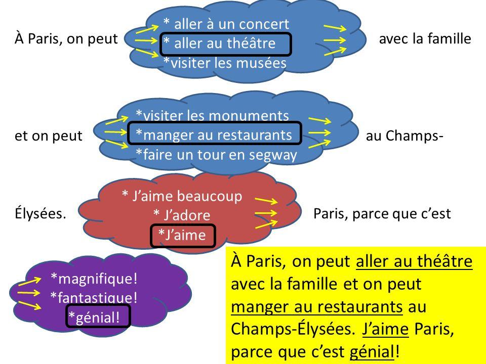* aller à un concert * aller au théâtre *visiter les musées À Paris, on peut avec la famille et on peut au Champs- Élysées.