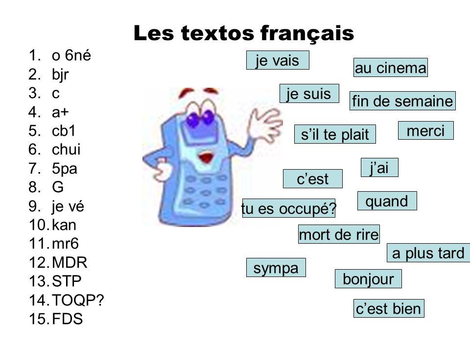 Les textos français 1.o 6né 2.bjr 3.c 4.a+ 5.cb1 6.chui 7.5pa 8.G 9.je vé 10.kan 11.mr6 12.MDR 13.STP 14.TOQP.