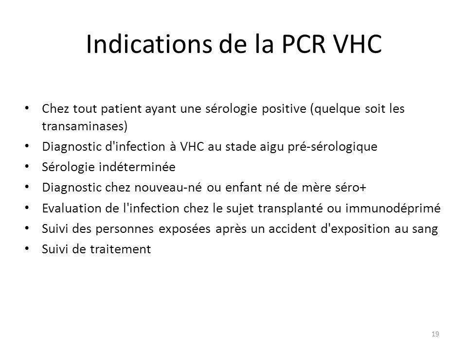 19 Indications de la PCR VHC Chez tout patient ayant une sérologie positive (quelque soit les transaminases) Diagnostic d'infection à VHC au stade aig