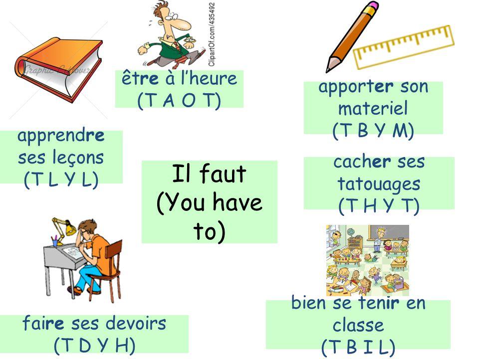 Il faut (You have to) être à lheure (T A O T) apporter son materiel (T B Y M) bien se tenir en classe (T B I L) faire ses devoirs (T D Y H) apprendre ses leçons (T L Y L) cacher ses tatouages (T H Y T)