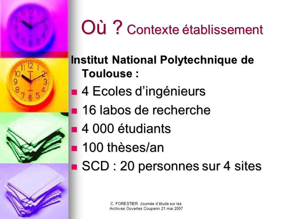 C. FORESTIER Journée d'étude sur les Archives Ouvertes Couperin 21 mai 2007 Où ? Contexte établissement Institut National Polytechnique de Toulouse :
