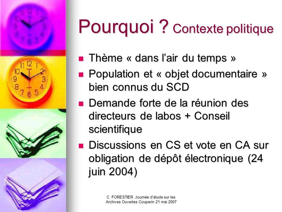 C. FORESTIER Journée d'étude sur les Archives Ouvertes Couperin 21 mai 2007 Pourquoi ? Contexte politique Thème « dans lair du temps » Thème « dans la