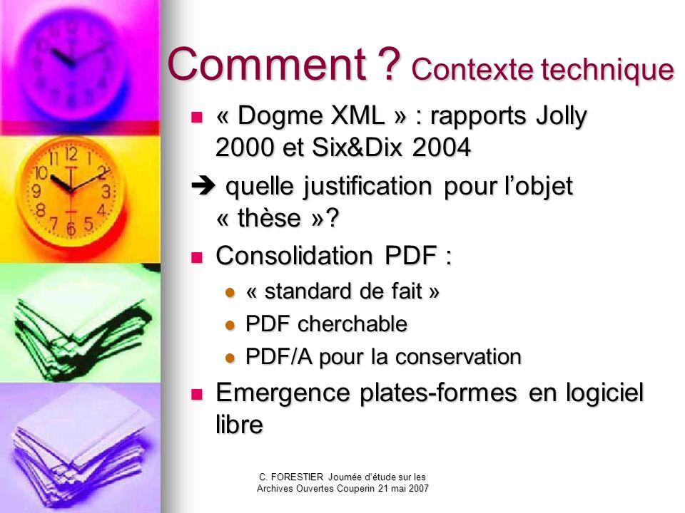 C. FORESTIER Journée d'étude sur les Archives Ouvertes Couperin 21 mai 2007 Comment ? Contexte technique « Dogme XML » : rapports Jolly 2000 et Six&Di