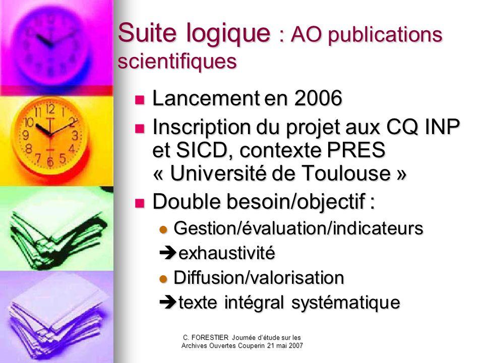 C. FORESTIER Journée d'étude sur les Archives Ouvertes Couperin 21 mai 2007 Suite logique : AO publications scientifiques Lancement en 2006 Lancement