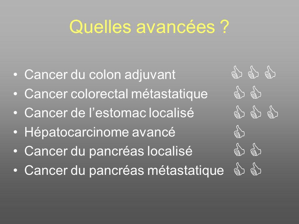 Quelles avancées ? Cancer du colon adjuvant Cancer colorectal métastatique Cancer de lestomac localisé Hépatocarcinome avancé Cancer du pancréas local