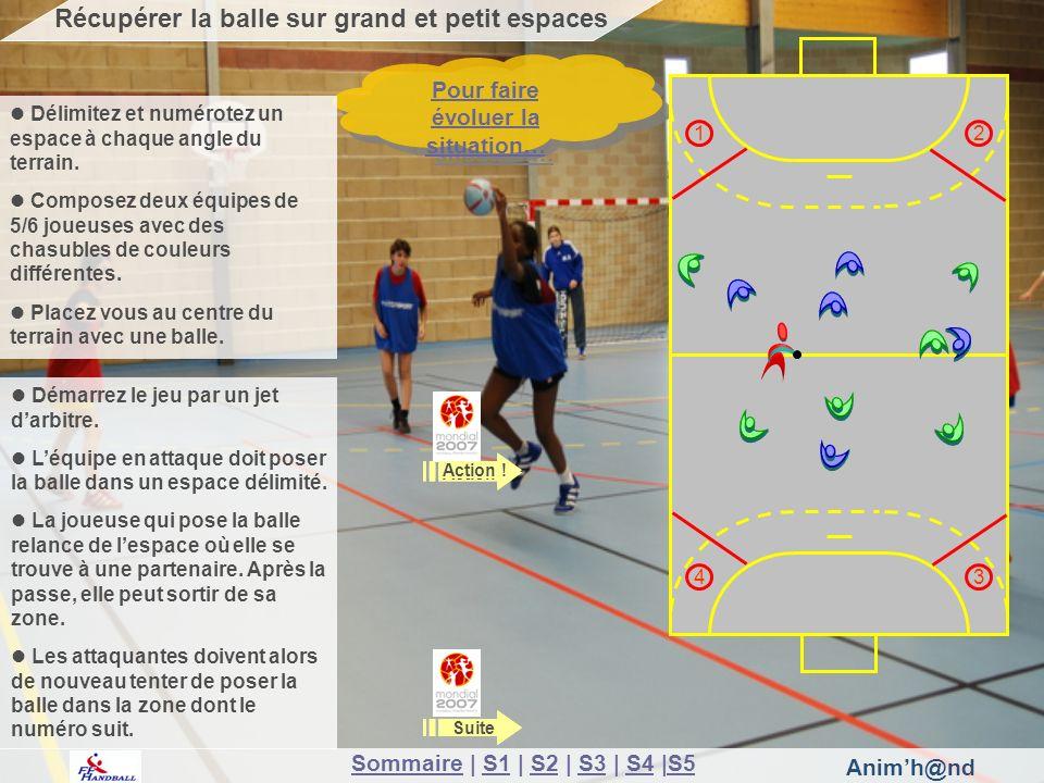 Animh@nd Pour faire évoluer la situation… Pour faire évoluer la situation… Récupérer la balle sur grand et petit espaces 12 3 4 Délimitez et numérotez un espace à chaque angle du terrain.