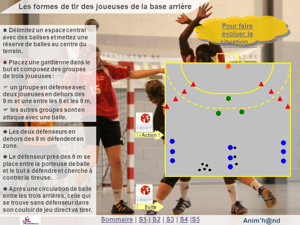 Animh@nd Suite Pour faire évoluer la situation… Pour faire évoluer la situation… Les formes de tir des joueuses de la base arrière Action .