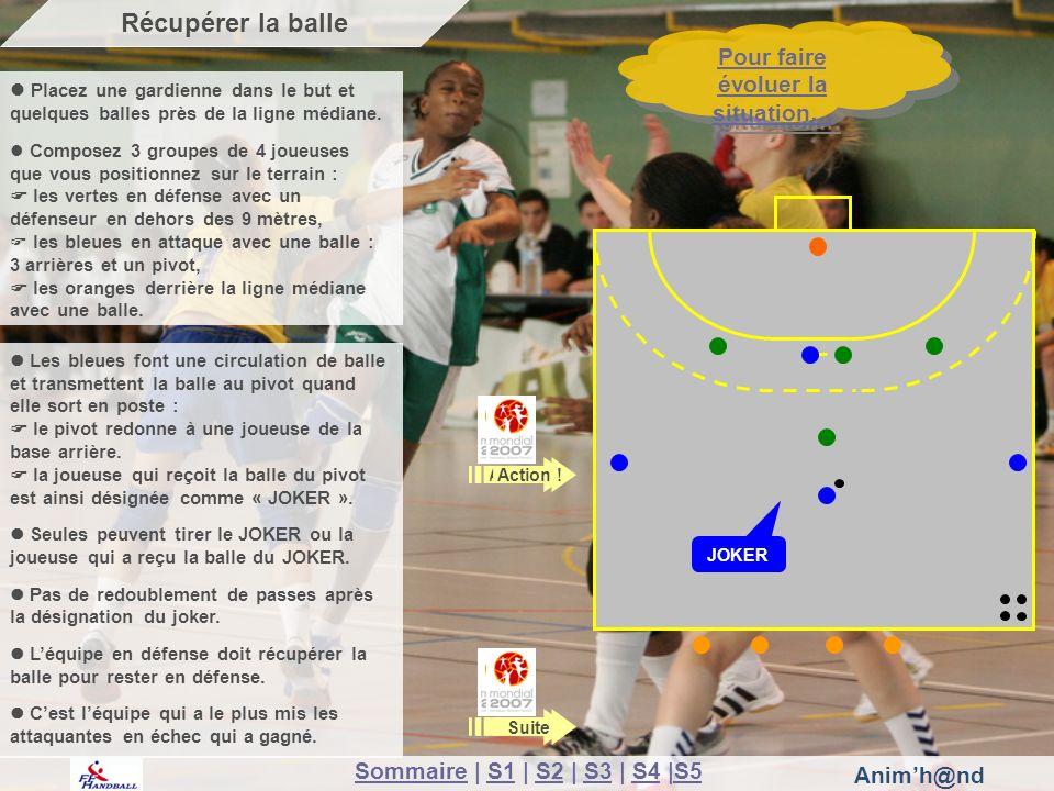 Animh@nd Suite Pour faire évoluer la situation… Pour faire évoluer la situation… Récupérer la balle Action .