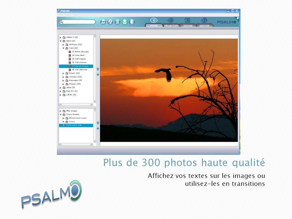 Affichez vos textes sur les images ou utilisez-les en transitions