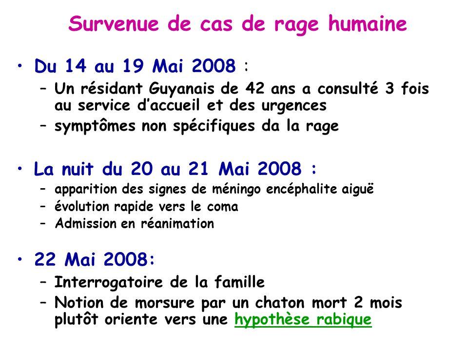 Survenue de cas de rage humaine Du 14 au 19 Mai 2008 : –Un résidant Guyanais de 42 ans a consulté 3 fois au service daccueil et des urgences –symptôme