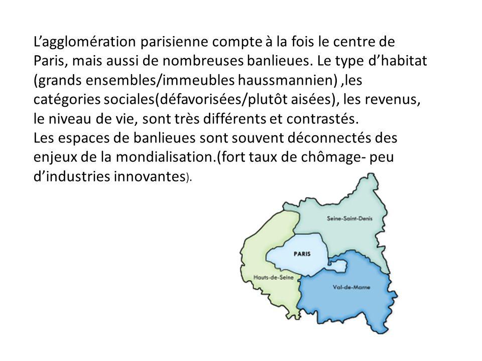 Lagglomération parisienne compte à la fois le centre de Paris, mais aussi de nombreuses banlieues. Le type dhabitat (grands ensembles/immeubles haussm