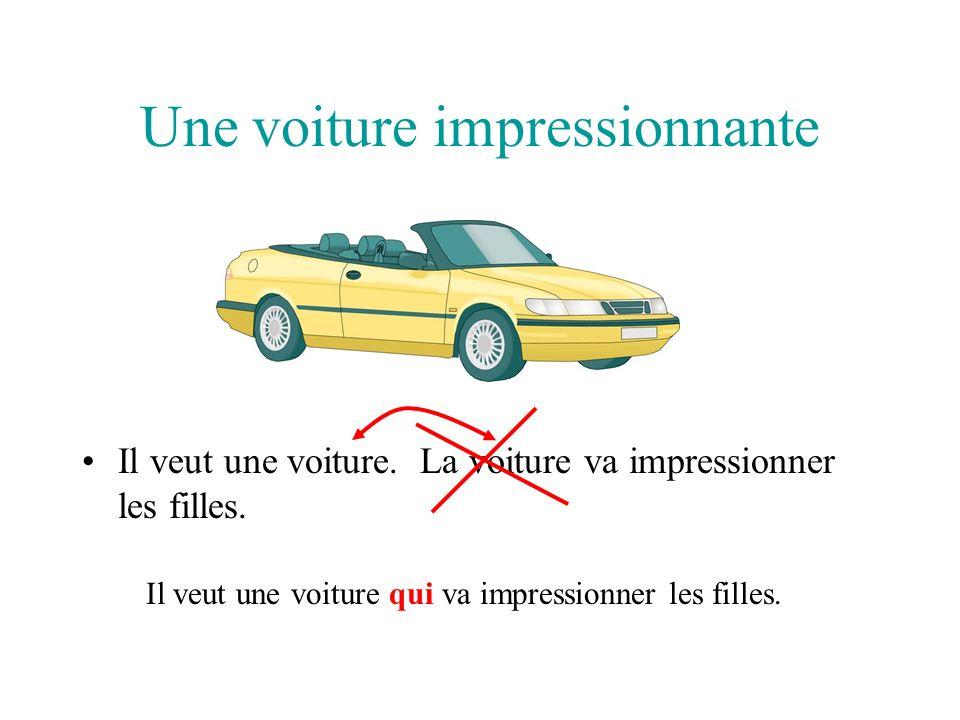 Une voiture impressionnante Il veut une voiture.La voiture va impressionner les filles.