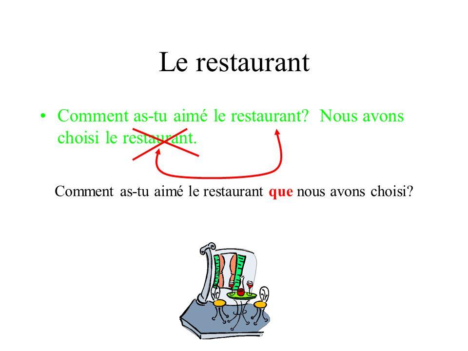 Le restaurant Comment as-tu aimé le restaurant.Nous avons choisi le restaurant.