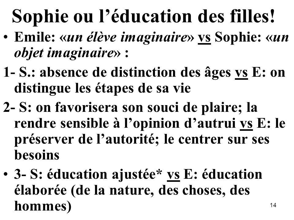 Sophie ou léducation des filles! Emile: «un élève imaginaire» vs Sophie: «un objet imaginaire» : 1- S.: absence de distinction des âges vs E: on disti
