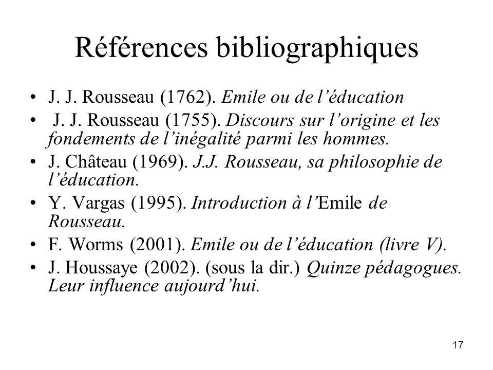 Références bibliographiques J. J. Rousseau (1762). Emile ou de léducation J. J. Rousseau (1755). Discours sur lorigine et les fondements de linégalité