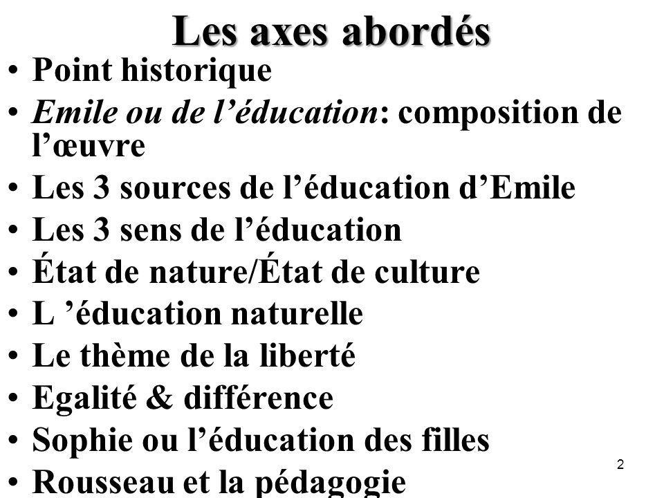 Les axes abordés Point historique Emile ou de léducation: composition de lœuvre Les 3 sources de léducation dEmile Les 3 sens de léducation État de na