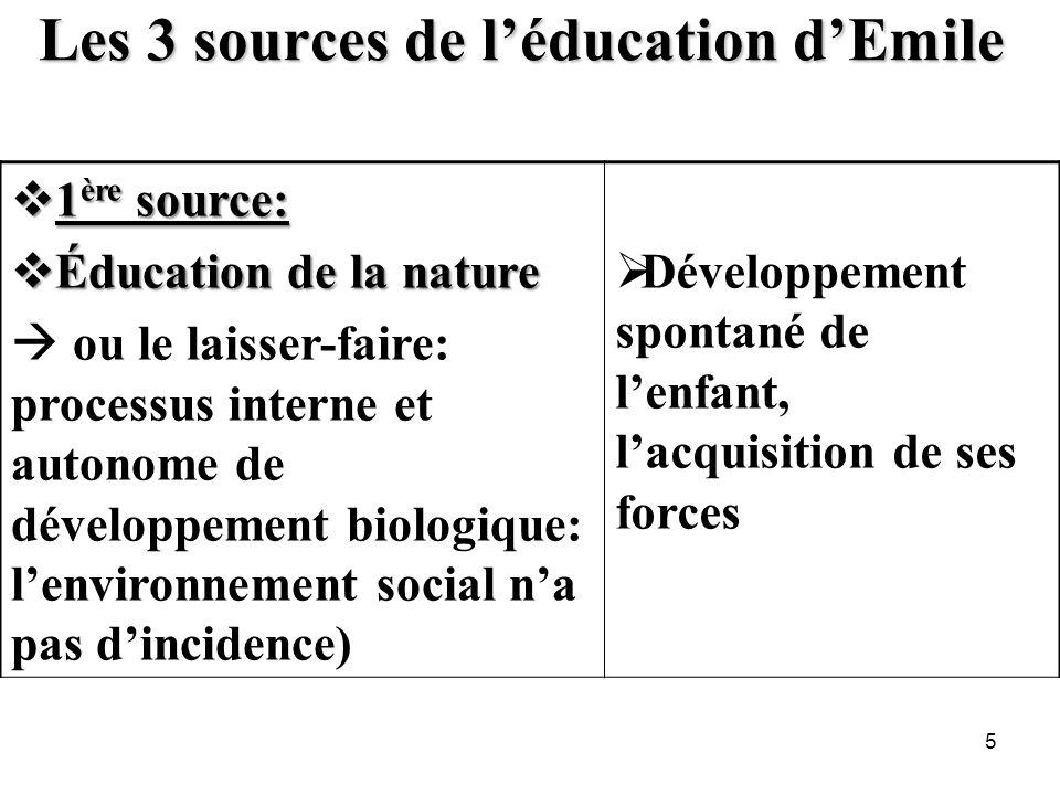 Les 3 sources de léducation dEmile 1 ère source: 1 ère source: Éducation de la nature Éducation de la nature ou le laisser-faire: processus interne et