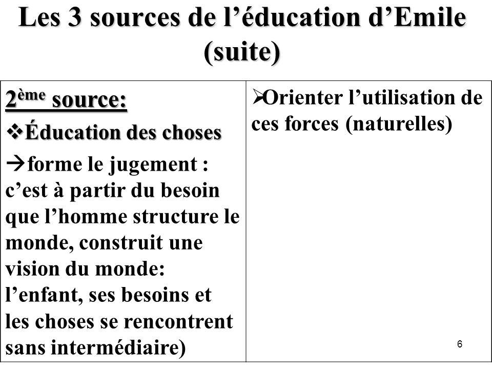 Les 3 sources de léducation dEmile (suite) 2 ème source: Éducation des choses Éducation des choses forme le jugement : cest à partir du besoin que lho