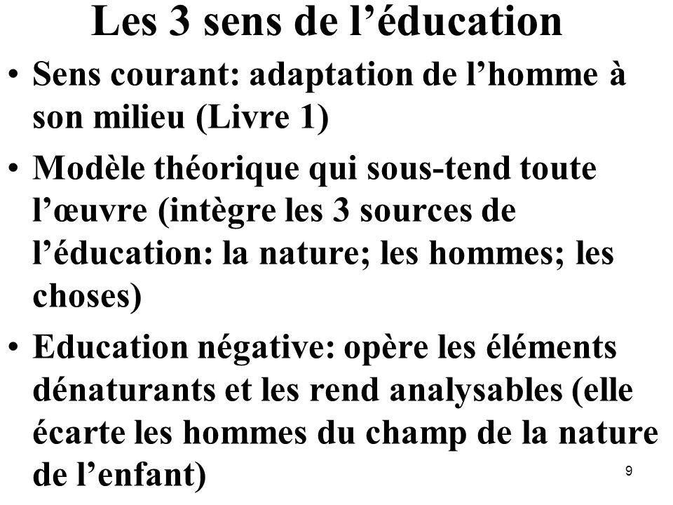 Les 3 sens de léducation Sens courant: adaptation de lhomme à son milieu (Livre 1) Modèle théorique qui sous-tend toute lœuvre (intègre les 3 sources