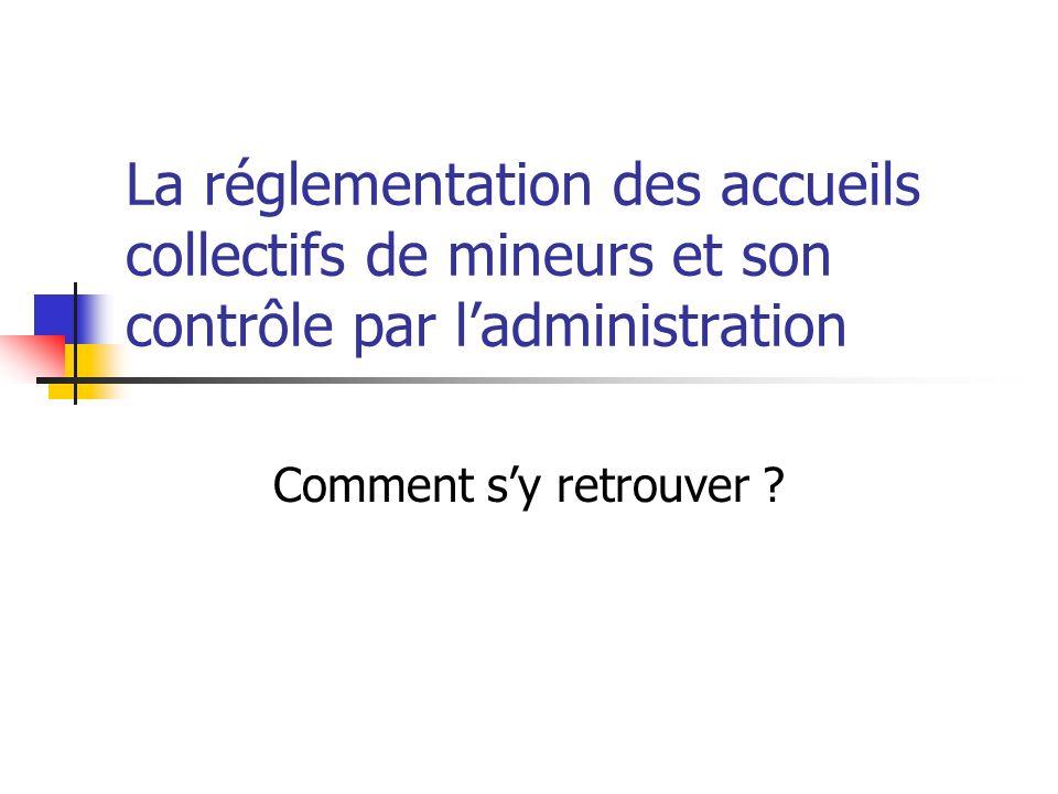 La réglementation des accueils collectifs de mineurs et son contrôle par ladministration Comment sy retrouver ?
