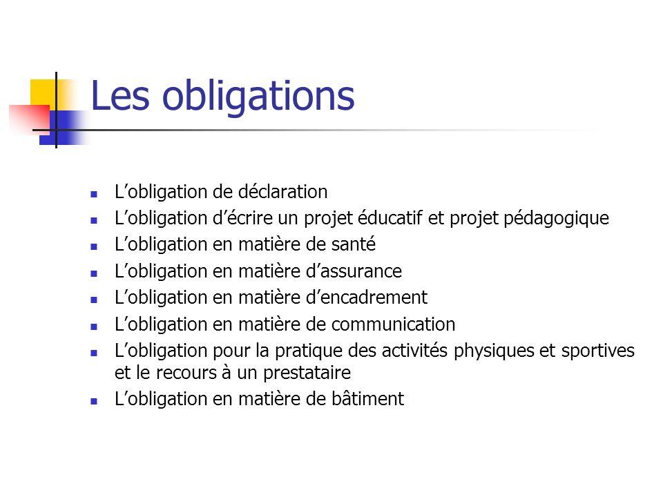 Les obligations Lobligation de déclaration Lobligation décrire un projet éducatif et projet pédagogique Lobligation en matière de santé Lobligation en