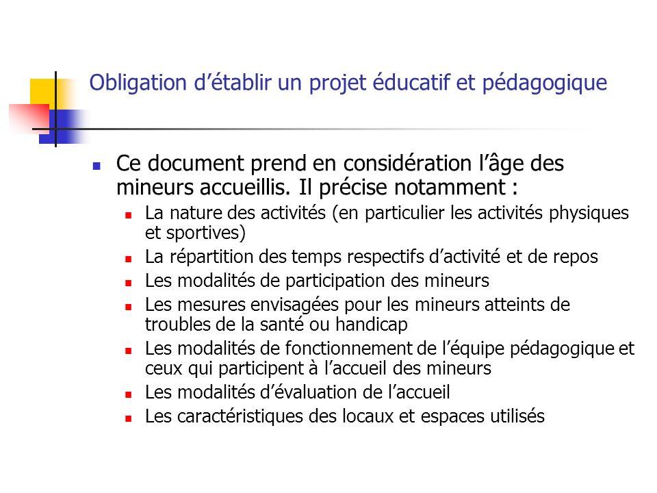 Obligation détablir un projet éducatif et pédagogique Ce document prend en considération lâge des mineurs accueillis. Il précise notamment : La nature