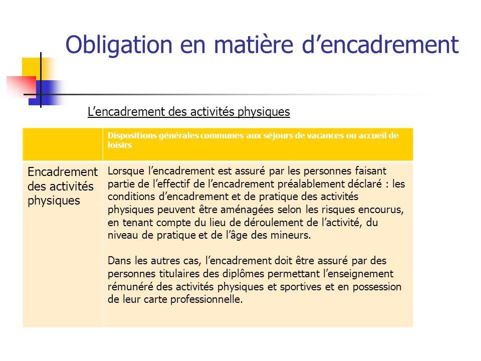Obligation en matière dencadrement Dispositions générales communes aux séjours de vacances ou accueil de loisirs Encadrement des activités physiques L