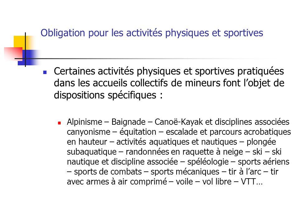 Obligation pour les activités physiques et sportives Certaines activités physiques et sportives pratiquées dans les accueils collectifs de mineurs fon