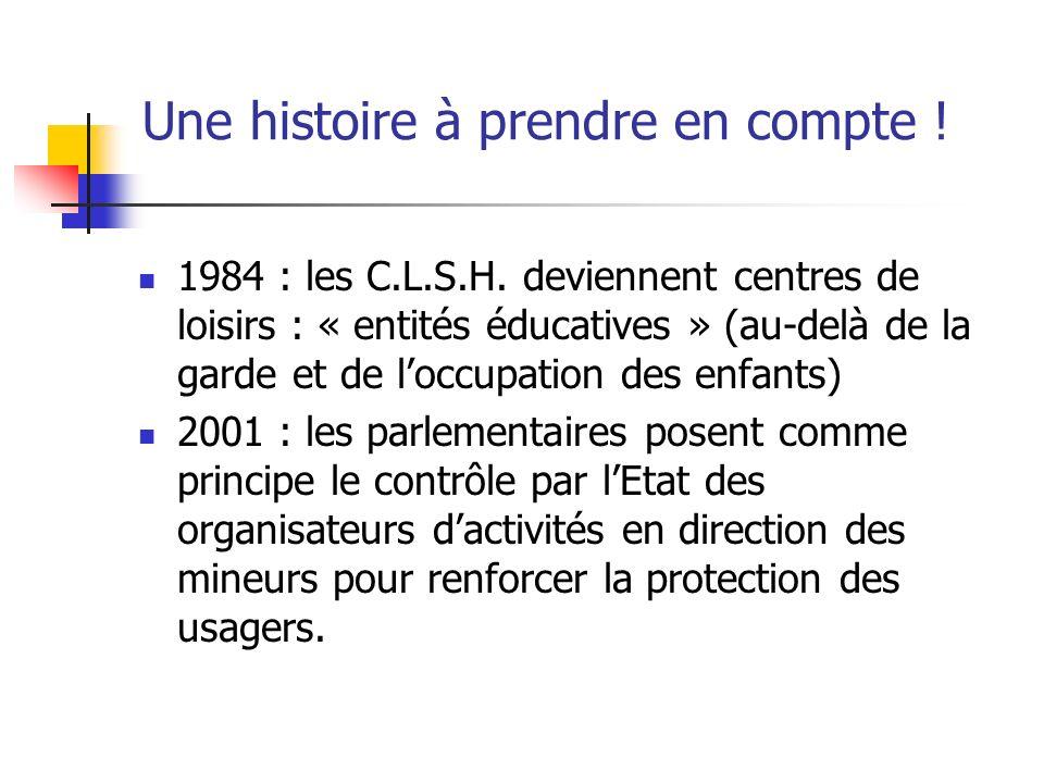Une histoire à prendre en compte ! 1984 : les C.L.S.H. deviennent centres de loisirs : « entités éducatives » (au-delà de la garde et de loccupation d