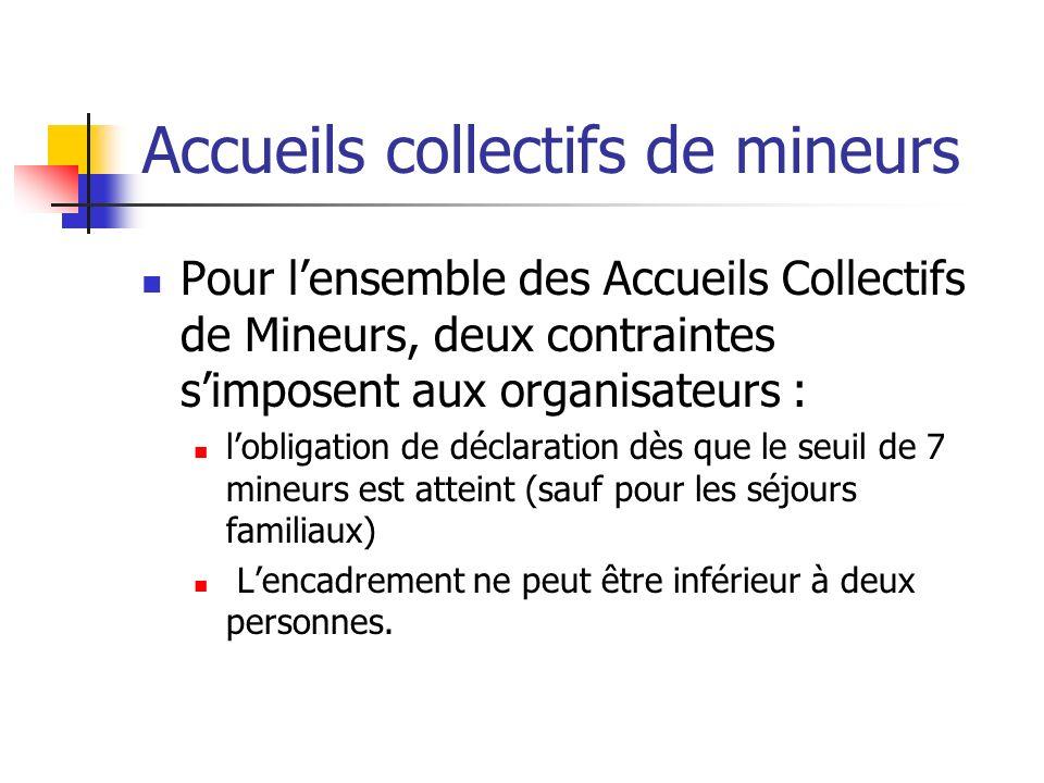 Pour lensemble des Accueils Collectifs de Mineurs, deux contraintes simposent aux organisateurs : lobligation de déclaration dès que le seuil de 7 min