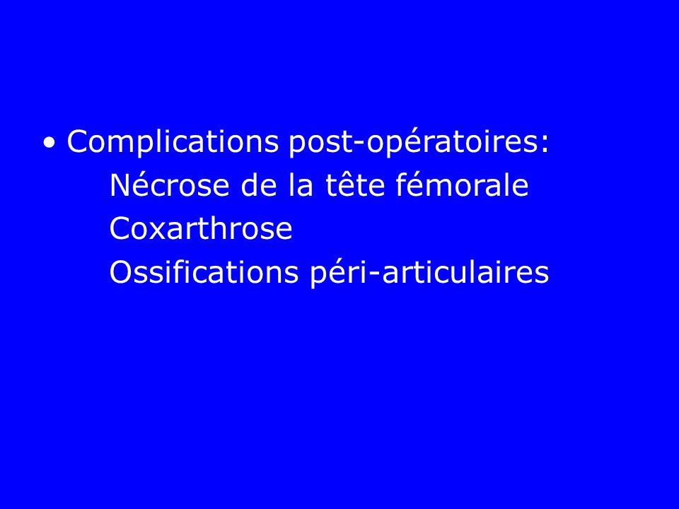 Complications post-opératoires: Nécrose de la tête fémorale Coxarthrose Ossifications péri-articulaires