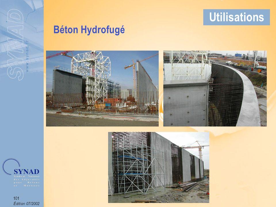 Édition 07/2002 102 Applications Béton mis en œuvre sous leau et donc soumis à de fortes pressions dont il faut tenir compte lors de la réalisation de louvrage.