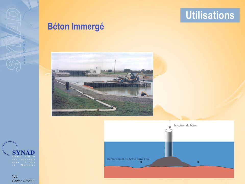 Édition 07/2002 104 Applications Béton particulièrement destiné aux travaux de remplissage de tranchées et de comblement de cavités, cuves de carburant abandonnées, marnières, canalisations, etc., et aux stabilisations de chaussées.