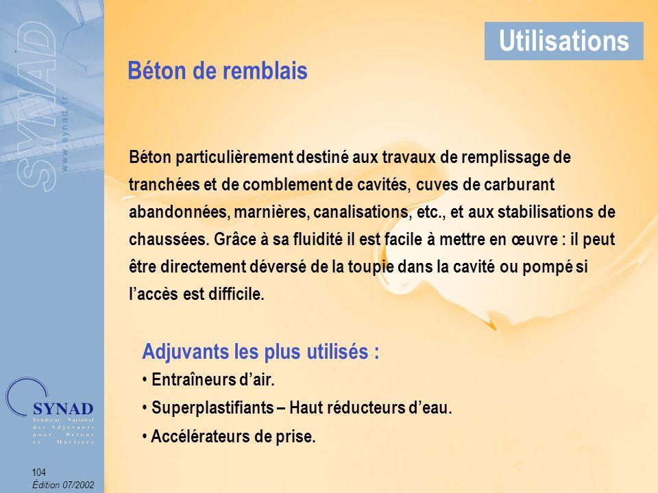 Édition 07/2002 105 Applications Béton de remblais Utilisations