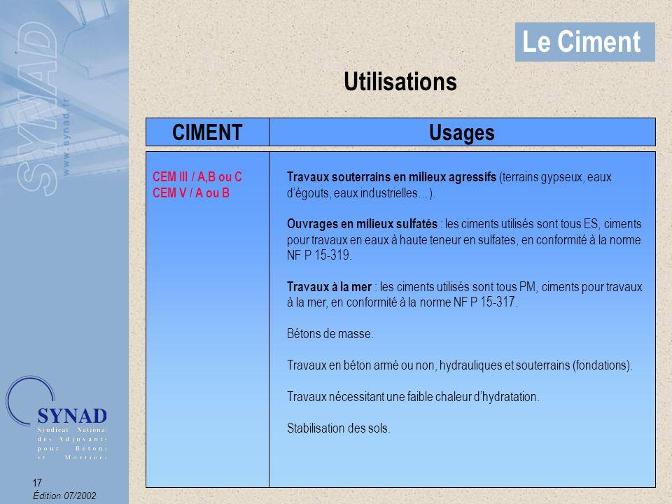 Édition 07/2002 18 Le Ciment Autres Ciments Ciment prompt (NF P15-314) résistance aux eaux séléniteuses et eaux acides Ciment alumineux fondu (NF P15-315) par temps froid jusquà -10°C pour les bétons réfractaires jusquà 1300°C Ciment à maçonner (NF P15-307) Les ciments pour : Travaux à la mer PM (NF P15-317) Travaux en eaux à haute teneur en sulfates ES (NF P15-319) Le béton précontraint CP (NF P15-318)