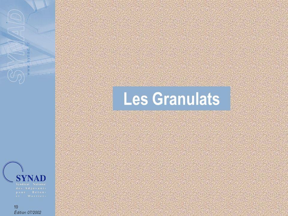 Édition 07/2002 20 Les Granulats Définition On appelle granulats les matériaux dorigine minérale, gravillons, sables, sablons et fillers qui entrent dans la composition des bétons.